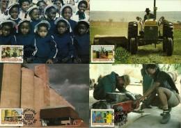 South Africa / Bophuthatswana - 1986 Temisano Development Project Maximum Cards - Full Set Of 4 - Farms