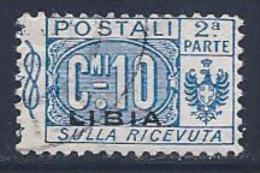 Libya, Scott # Q2 Used Italy Parcel Post Stamp Overprinted, 2nd Half, 1915 - Libya
