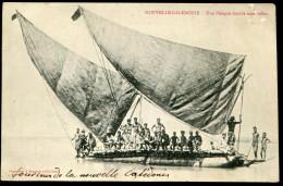 NOUVELLE CALÉDONIE - N° 59 / CPA D'UNE PIROGUE DOUBLE SOUS VOILES, OBL. NOMÉA LE 8/6/1905, POUR LE HAVRE - TB - Briefe U. Dokumente