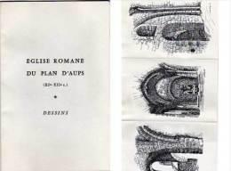 Eglise Romane Du PLAN D' AUPS - 3 Dessins Sur Dépliant 3 Volets    (69580) - Autres Collections