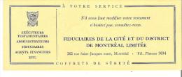 """Fiduciares De La Cite Et Du District De Montreal Limitee Coffrets De Surete  Executeurs   8.5"""" X 3.4"""" 21 Cm X 8.5 Cm - Blotters"""