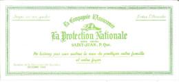 """La Compagnie D'Assurance  La Protection Nationale Saint-Jean, Quebec   9"""" X 4"""" 21 Cm X 10 Cm - Bank & Insurance"""