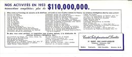 "Credit Interprovincial Limitee  Nos Activitees En 1953  9"" X 4"" 21 Cm X 10 Cm - Bank & Insurance"