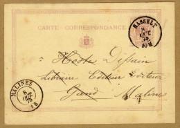 Carte Correspondance Entier 1875 Hasselt à Malines - Stamped Stationery