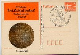 DDR P86II-30-88 C32 Postkarte Zudruck KARL SUDHOFF MEDIZINHISTORIKER Falkensee Sost. 1988 - [6] Repubblica Democratica
