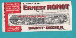 Buvard Ancien - SAINT DIZIER ( Haute Marne ) - Usine Ernest RONOT - Cuiseur , Machine à Laver , Tonneau - Blotters