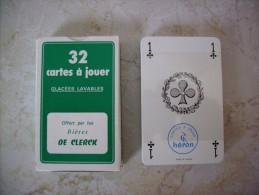 JEU DE 32 CARTES A JOUER GLACEES LAVABLES . BIERE . BRASSERIE DE CLERCK