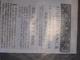 Ordonnance De M. Le Lieutenant Général De Police Pour Le Levée De 474 Hommes-  Paris 27/1/1748 - Documents Historiques