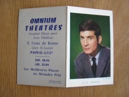 CALENDRIER 1961 JEAN - CLAUDE BRIALY Acteur Cinéma Vedette Omnium Théatres Paris 8 ème  Autres Collections - Tamaño Pequeño : 1961-70