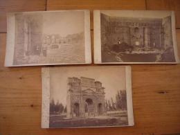 Lot De 3 Photos XIX ème Orange Le Théatre Antique Sur Carton 11 X 16 Cm - Luoghi