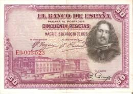 BILLETE DE ESPAÑA DE 50 PTAS DEL AÑO 1928 CALIDAD MBC NUMERACION MUY BAJA 0006523  (BANKNOTE) - [ 1] …-1931 : Primeros Billetes (Banco De España)