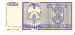 BILLETE DE BOSNIA HERZEGOVINA DE 10000000 DINARA DEL AÑO 1993 (BANKNOTE) - Bosnia Y Herzegovina