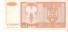 BILLETE DE BOSNIA HERZEGOVINA DE 1000000000 DINARA DEL AÑO 1993 (BANKNOTE) - Bosnia And Herzegovina