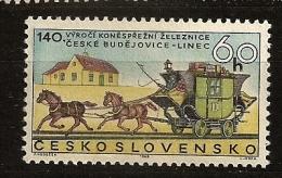 Tchécoslovaquie 1968 N° 1654 ** Diligence, Ceske Budejovice-Linz, Voie Ferrée, Train, Chemin De Fer, Cheval, Calèche - Checoslovaquia