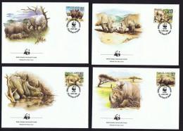 1987  Rhinocéros Blanc  Sur 4FDC Officiels WWF - Swaziland (1968-...)