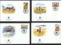 1987  Lechwe Noir (antilope)  Série  Sur 4 FDC Officiels WWF - Zambia (1965-...)