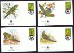 1987  Perruche Verte De Norfolk  Sur 4 FDC Officiels De La WWF - Ile Norfolk