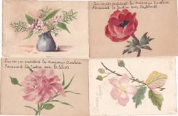 ¤¤  -  Lot De 4 Cartes Fantaisies  -  Fleurs  -  Peinte à La Main    -  ¤¤ - Fleurs, Plantes & Arbres