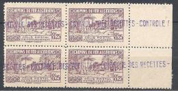 ALGERIE COLIS POST  YVERT N° 92 / MAURY N° 107 X  4   NEUF** TTB - Algérie (1924-1962)