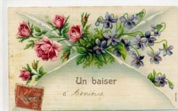 92 - Un Baiser D´ASNIERES - Enveloppe Avec Des Fleurs Roses, Violettes - Carte Gaufrée - Asnieres Sur Seine
