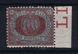 San Marino: Mi  22 Sa. 22  MH/* 1892 Sheetmargin - San Marino
