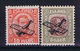 Iceland 1928, Mi Nr 122-123 MH/* - Luchtpost