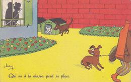 Qui Va à La Chasse, Perd Sa Place (chiens, Couple) - Humour