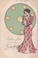 Belle CPA  Illustrée  ART NOUVEAU  FEMME Symbole Du JEU De CARTES  Timbrée 1903 - Avant 1900
