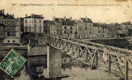 77- LAGNY-THORIGNY- Passerelle Provisoire Du Pont De Fer- Hôtel Bellevue  Guerre 1914.18 - Lagny Sur Marne