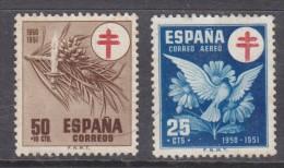 SPAIN: 1950 Anti TB, Charity, 50 +10cts, Air Mail 25 Cents, Unused, No Gum - 1931-Oggi: 2. Rep. - ... Juan Carlos I