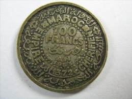 MOROCCO 100  FRANCS  1372 AH  AROUND 1953  CHERIFIIEN  SILVER  LOT 29 NUM 15 - Marruecos