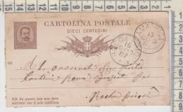 Storia Postale Italia 15/7/1887 Cartolina Postale 10 Centesimi Da Amatrice Per Rocca Priora - 1878-00 Humbert I
