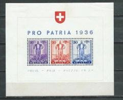 Suisse - 1936 - Y&T Bloc 2 - Neuf * - Switzerland