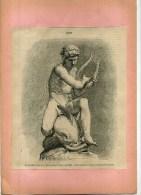- SALON DE 1870 . ARION . MARBRE PAR HIOLLE  . GRAVURE SUR BOIS  DU XIXe S . DECOUPEE ET COLLEE SUR PAPIER . - Sculptures
