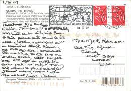 Olinda PE, Brazil Brasil Postcard Used Posted To UK 2007 GUYANE FRANCAISE Stamps - Brazil
