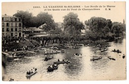 CP, 94, LA VARENNE-St-HILAIRE, Les Bords De La Marne Et Les Quais Vus Du Pont De Chennevières, Ecrite - France