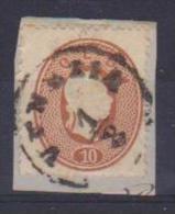 ANTICHI STATI ITALIANI 1861-62 LOMBARDO VENETO E PROVINCIA DI MANTOVA SASS. 34 USATO  SU FRAMMENTO VF - Lombardo-Veneto