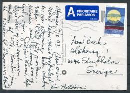 1993 Iceland Akreanes - Sweden Airmail Postcard Seljalandfoss - 1944-... Republique