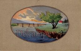 Lot 3 Cpa Peintes à La Main - Paysage Coloré Dans Medaillon - 1914 - écrites - Illustrateurs & Photographes