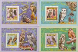 bur14103b Burundi 2014 Bird of Prey Owl 4 s/s Mushroom