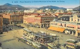 Nice - Place Massena - Le Casino Et Les Hôtels De Cimiez - Carte Non Circulée - Places, Squares