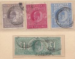 1902 Edward VII High Values   2/6 5s 10s 1£