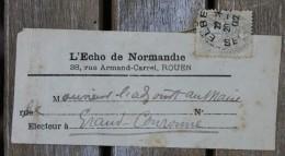 Bande Pour Journaux Affranchie 1c Blanc Pour Grand-Couronne Oblitération Elbeuf - 1900-29 Blanc
