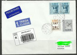 SLOWAKEI Slovakia Slovensko 2014 Registered Air Mail Letter To Estland Estonia - Slovaquie