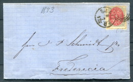 1873 Denmark 4 Sk Railway Cover - Fredericia - 1864-04 (Christian IX)