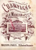 51- EPERNAY - RARE CHANSON SALUT A TOI CHAMPAGNE MERCIER- ILLUSTRATEUR CLERICE- 1889 - Historische Dokumente