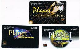 ITALIA (ITALY) - PLANET COMMUNICATION (REMOTE)  -  COMPLET SET OF 3        - NUOVE (MINT)  -  RIF. 8692 - Italia