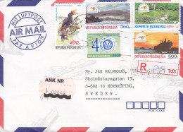 Indonesia Airmail Par Avion Registered Einschreiben Label DJAKARTA 1992 Cover Brief NORRKÖPING Sweden Bird Vogel Oiseau - Indonesia