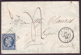 ALLIER - LSC - Tàd T15 VICHY + PC 3564 Sur N° 14 + Taxe 4 (2ème échelon) Pour Lesparre (32) - 1849-1876: Classic Period