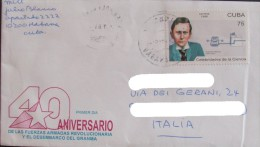 Isolated CUBA 2001 Guglielmo Marconi Radio Telecommunication Science Physics Used On Letter Cover - Telecom